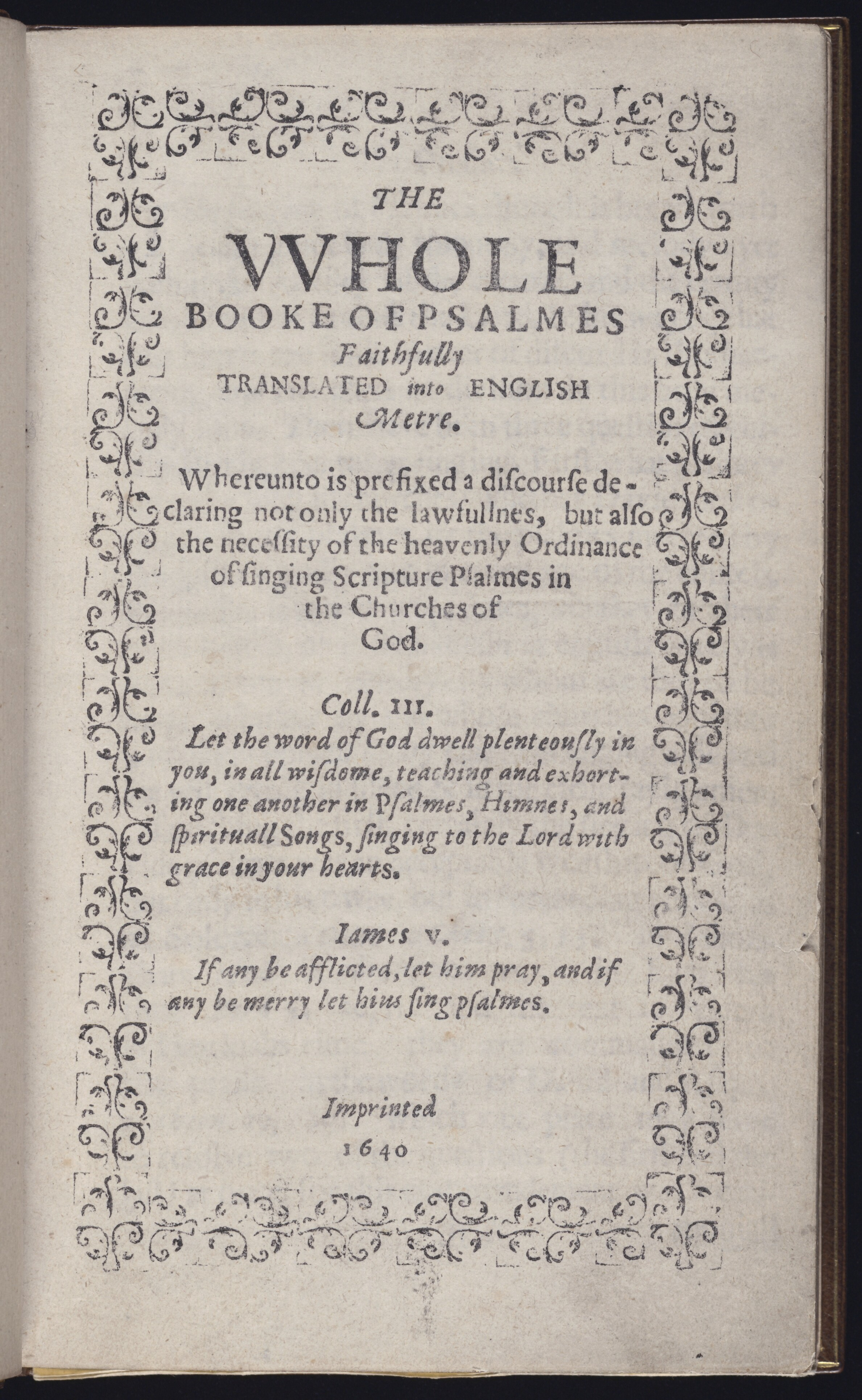 W_Bay Psalm Book title page