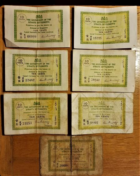 straits settlements 10 cents group obv