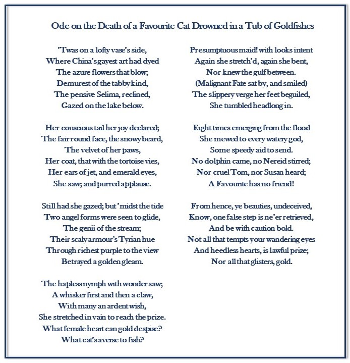 Ode on the death of a favourite cat 2