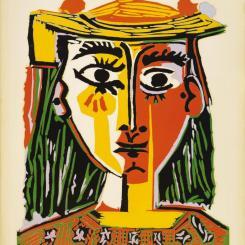 Lempertz-891-905-Moderne-Kunst-Pablo-Picasso-Portrait-de-femme-au-chapeau-a-pompons-et-au-corsage-imprime